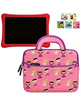 Nabi Elev-8 Case Evecase Kids Tablet Neoprene Sleeve Carrying Case Compatible with Fuhu Elev-8 inch Android Tablet, NABI 2, nabi 2S Tablet PC (SN02-NV07A-WH)- Cute Princess Themed