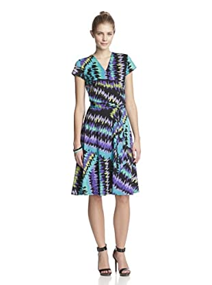 Leota Women's Perfect Wrap Dress with Cap Sleeves (Ikat Zigzag)