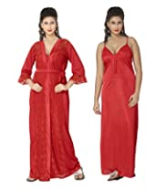 KuuKee Women's Satin Red colored nightwear (10035_Red_L)