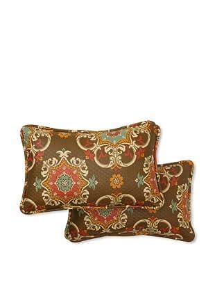 Set of 2 Garden Crest Rectangle Decorative Throw Pillows (Chocolate)