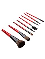 Nice Eshop(Tm) 8 Pieces Professional Fiber Hair Cosmetic Makeup Brush Set With Evening Purse Bag,Red