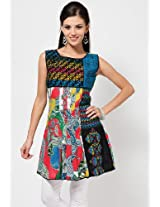Sleeve Less Embroidered Multi Color Kurti 18 Fire