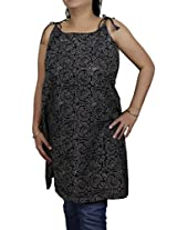 Spaghetti Strap Tank Tops Kurti for Women in Block Print Handloom Woven Cotton (L/40)