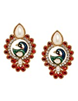 Bindhani Traditional Red Peacock Earrings For Women