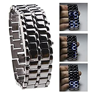 Baolihao Black Metal Strip Digital Lava Style Iron Sport Men Blue LED Faceless Wrist Watch WTH0310