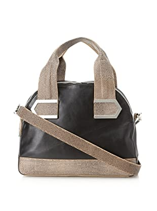 Allibelle Women's Stripes Satchel (Black/Gobi)