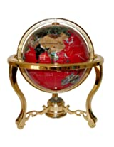 Unique Art 13-Inch Tall Table Top Red Ocean Gemstone World Globe with Gold Tripod Stand