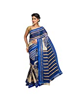 Korni Poly Cotton Saree (Kr0296 _Blue)