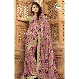 Party wear Multi color Faux Georgette Saree with Blouse