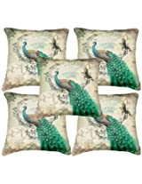Set of 5 Belkado Digital Print `Peacock-IV` Cushion Covers
