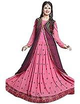 Viva N Diva Pink & Black Color Georgette & Net Suit.
