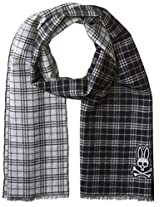 Psycho Bunny Men's Shadow Plaid Reversible Scarf, Black, One Size