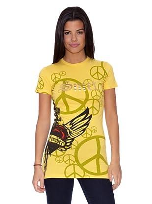 Ed Hardy Camiseta Love And Peace (Amarillo)