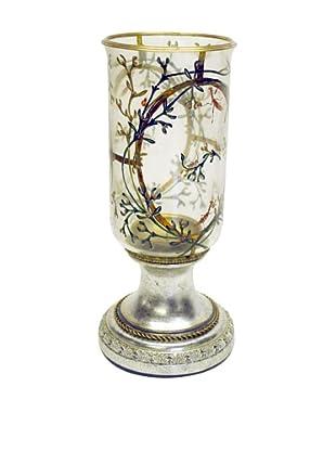 Castilian Ornate Candle Holder, Brushed Silver