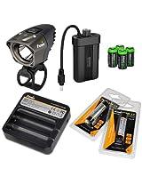 Fenix BT20 750 lumens Dual Distance Beam Cree LED 5 Mode Bike Bicycle Light with Fenix ARE-C1 Battery Charger 2 X Fenix ARB-L2 18650 rechargeable batteries and 4 X EdisonBright CR123 Batteries bundle