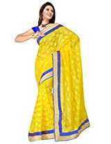 Sehgall Saree Indian Ethnic Professional Material Super Net Yellow