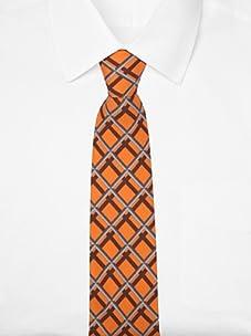 Hermès Men's Shadow Grid Tie (Orange/Brown/Gray)
