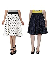 Shoping Fever - Designer and stylish Girls A-Line Skirt-(Polka Dot )White And Navy , Size Large, (30)