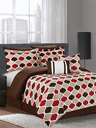 Luxury Home 7-Piece Serene Printed Comforter Set