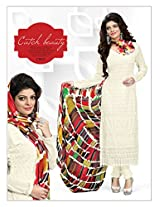 VandV Buy Off White Schiffli Work Dress Material Online