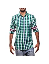Urban Polo Club Green Multicolored Shirt Large- Full Sleeve