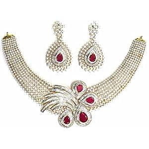 Shingar Jewellery Ksvk Jewels Latest New American diamond Ad Ruby Necklace set for women (5690-nad-a)