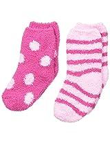 Maidenform Big Girls' Cozy Sock - Dots and Stripes 2-Pair Pack, Pink, Medium