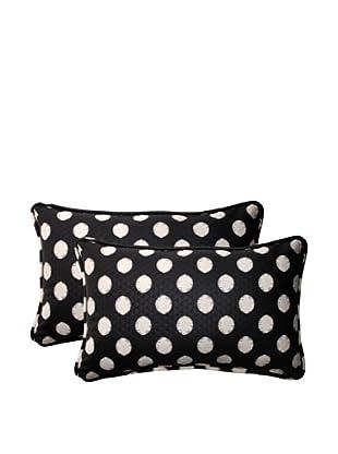 Set of 2 Outdoor Solar Spot Ebony Rectangle Corded Toss Pillows (Black/Cream)