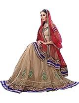 Beige Red Bridal Wear Embroidery Zari Patch Work Net Dhupian Indian Lehenga Choli