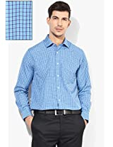 Blue Check Slim Fit Formal Shirt Peter England