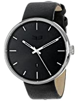 "Vestal Unisex ROS3L001 ""Roosevelt"" Stainless Steel Watch with Black Leather Strap"