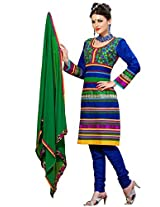 Cenizas Womens Chiffon Salwar Semi-Stitched Dress Material (Gold2011 _Blue)