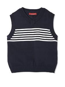 One Kid Boy's Striped Vest (Ink White)