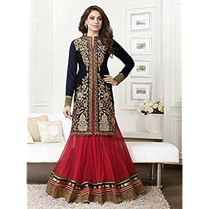 Bipasha Basu Black & Red Top :Pure Bemberg, Bottom: Net ,Dupatta: Pure Bemberg with Embroidery & Stone Work Unstitched Anarkali Salwar Kameez Suit