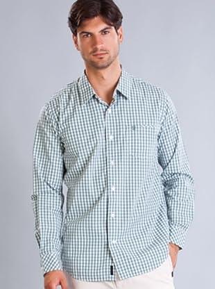 Timberland Camisa Cuadros Finos (Blanco / Verde)