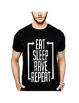 iLyk Men's Eat Sleep Rave Repeat Printed T-Shirt (10241_Black_X-Large)