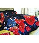 Solace Navy Blue Rose Floral Printed 3D Double Bedsheet Set