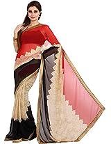 Parchayee Women's Chiffon Saree (94360A, Beige, Free Size)