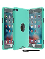iPad Mini 4 Case - E LV Armor Defender Hybrid protection from drops and impacts with 1 Stylus and 1 Microfiber for iPad Mini 4 - [MINT/GREY]
