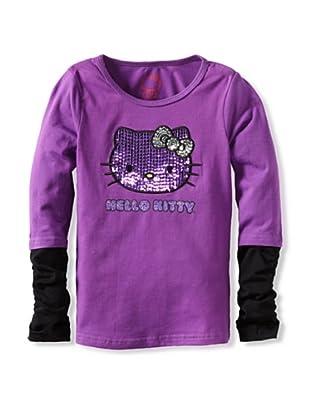 Hello Kitty Girl's 2-6X Contrast 2-fer Sleeve Top (Purple)