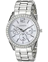 Geneva Women's FMDJM113 Rhinestone-Accented Silver-Tone Watch
