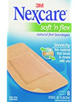 Nexcare Comfort Flexible Fabric Bandage, Knee and Elbow, 8-Count Packages (Pack of 6)