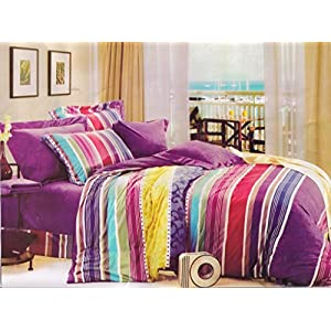 Amethyst Attractive Design Polyester Double Bedsheet with 2 Pillow Covers - Multicolor (RKH-BST-593)