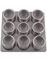Orya Stainless Steel Magnetic Spice Rack 9 Jars, 24.13 x 6.35 x 24.13 Cms (L x B x H)