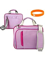 9 inch Nook HD Plus Purple and Pink Messenger Bag with 3 Compartments + VanGoddy Wristband