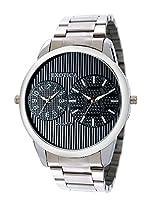 Exotica Analog Black Dial Men's Watch (EF-55-Dual-ST-B)