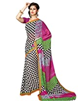 Vibes Women's Colombo Chiffon Saree with Blouse ( S37-1016B_Multi-Coloured)