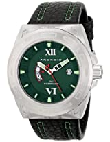 Android Antiforce GMT AD701BGR 48MM Swiss Quartz Analog Green Dial Men's Black Leather Watch