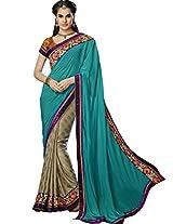 Sapphire Fashions Women's Beige Jacquard Saree