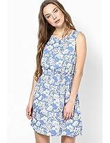 Blue Sleeveless Floral Print Skater Dress